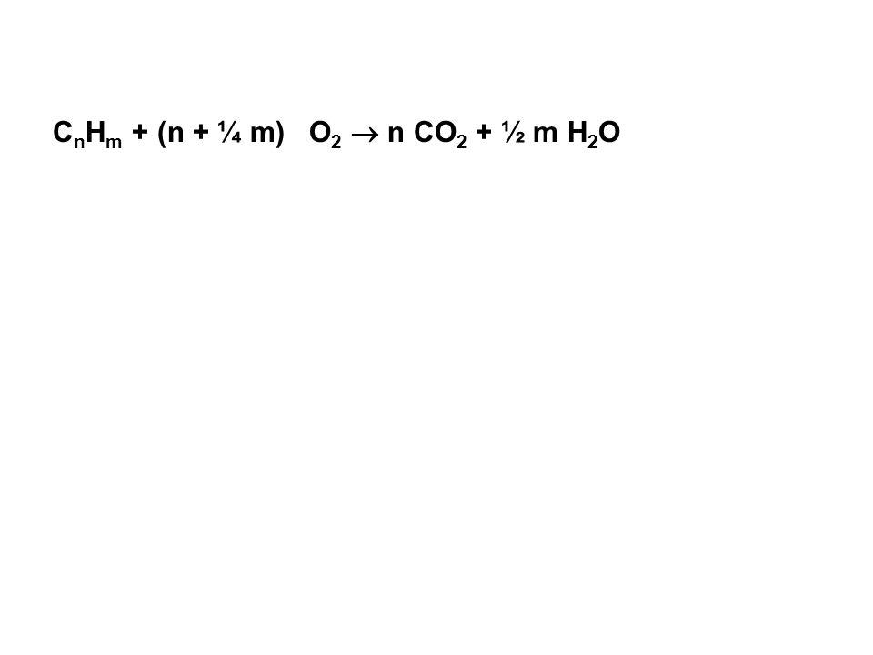 CnHm + (n + ¼ m) O2  n CO2 + ½ m H2O
