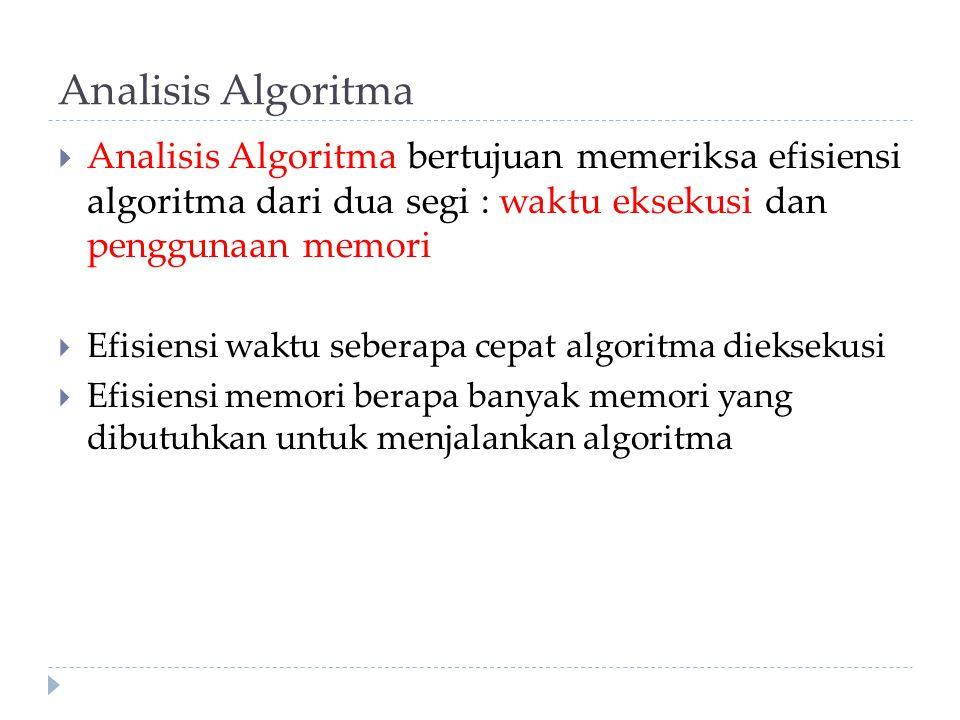 Analisis Algoritma Analisis Algoritma bertujuan memeriksa efisiensi algoritma dari dua segi : waktu eksekusi dan penggunaan memori.