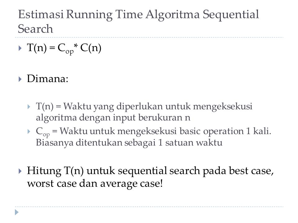 Estimasi Running Time Algoritma Sequential Search