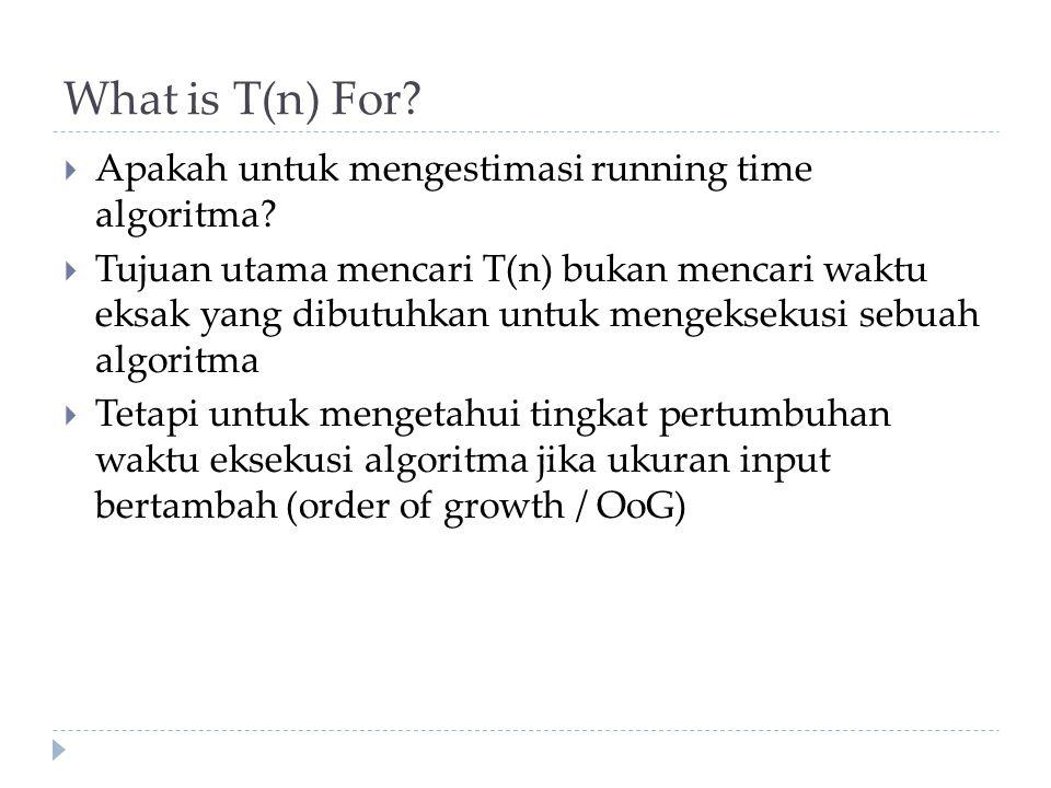 What is T(n) For Apakah untuk mengestimasi running time algoritma