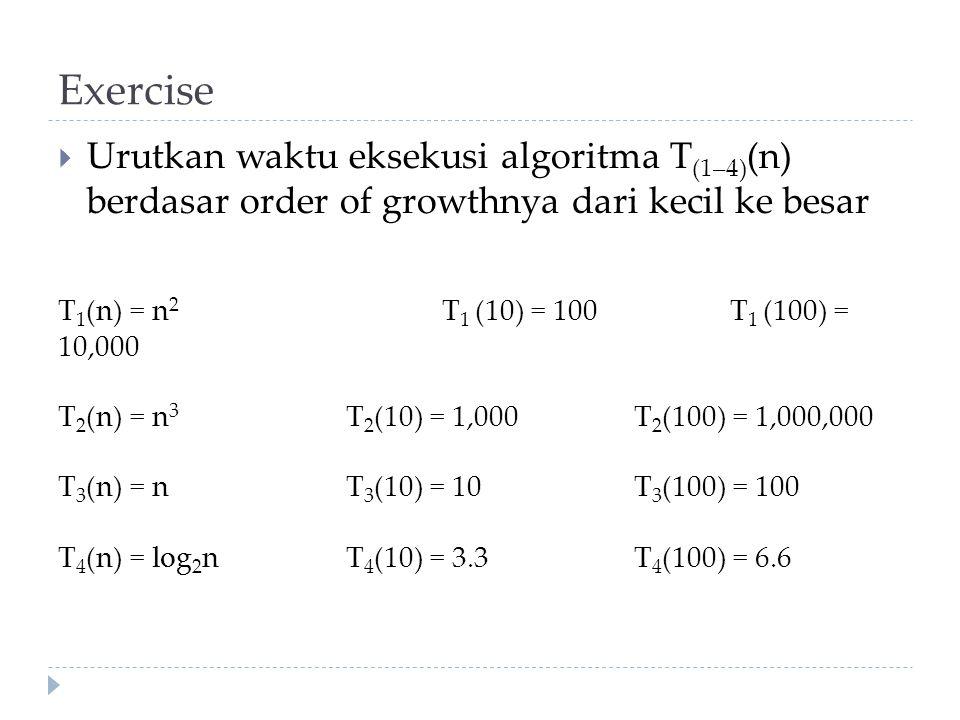 Exercise Urutkan waktu eksekusi algoritma T(1–4)(n) berdasar order of growthnya dari kecil ke besar.