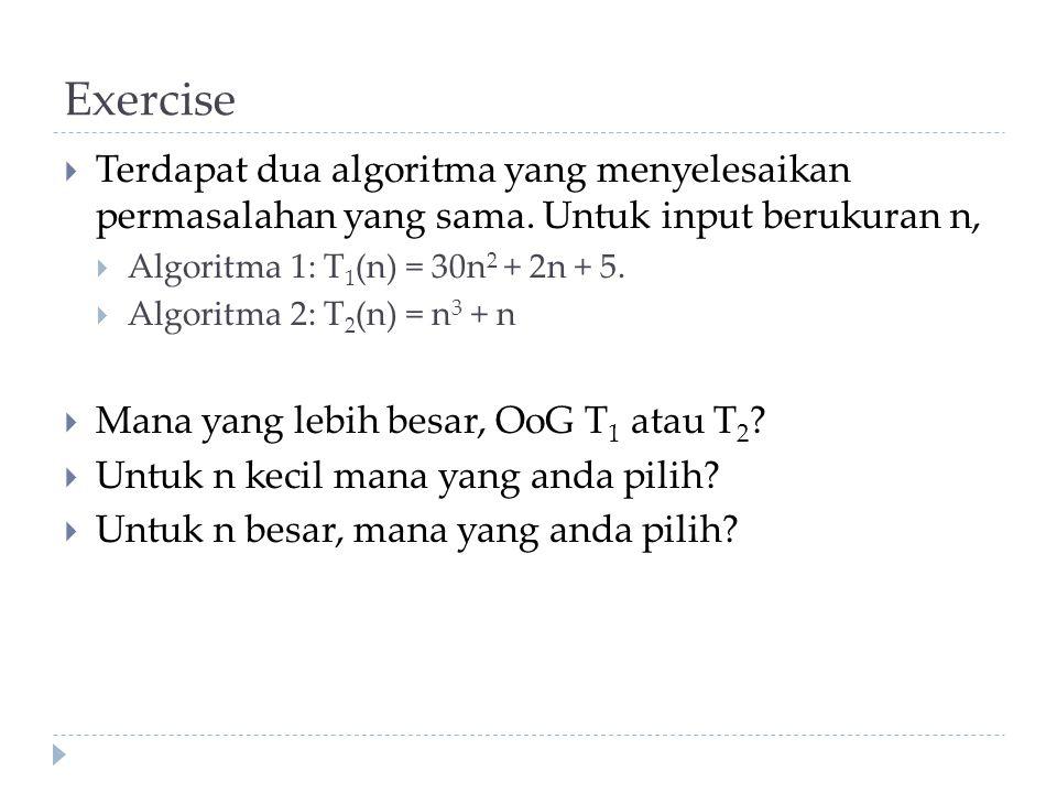Exercise Terdapat dua algoritma yang menyelesaikan permasalahan yang sama. Untuk input berukuran n,