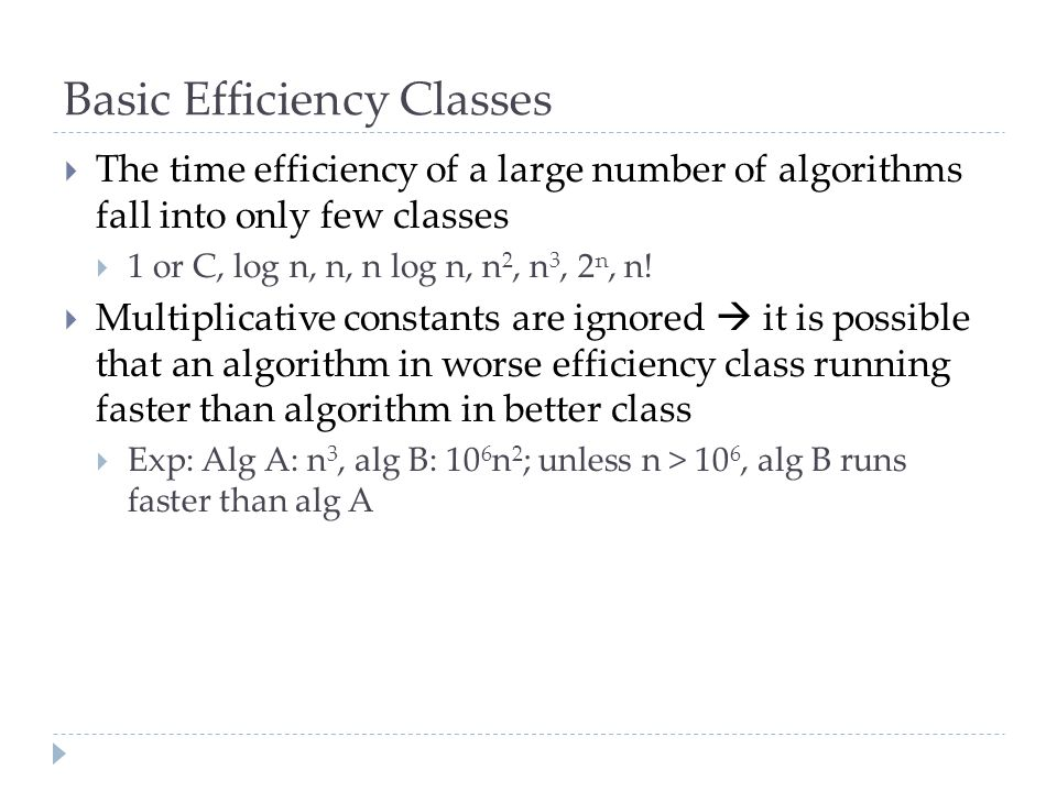 Basic Efficiency Classes