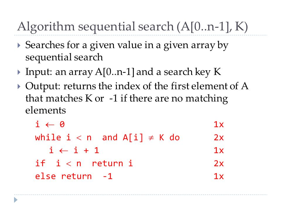 Algorithm sequential search (A[0..n-1], K)