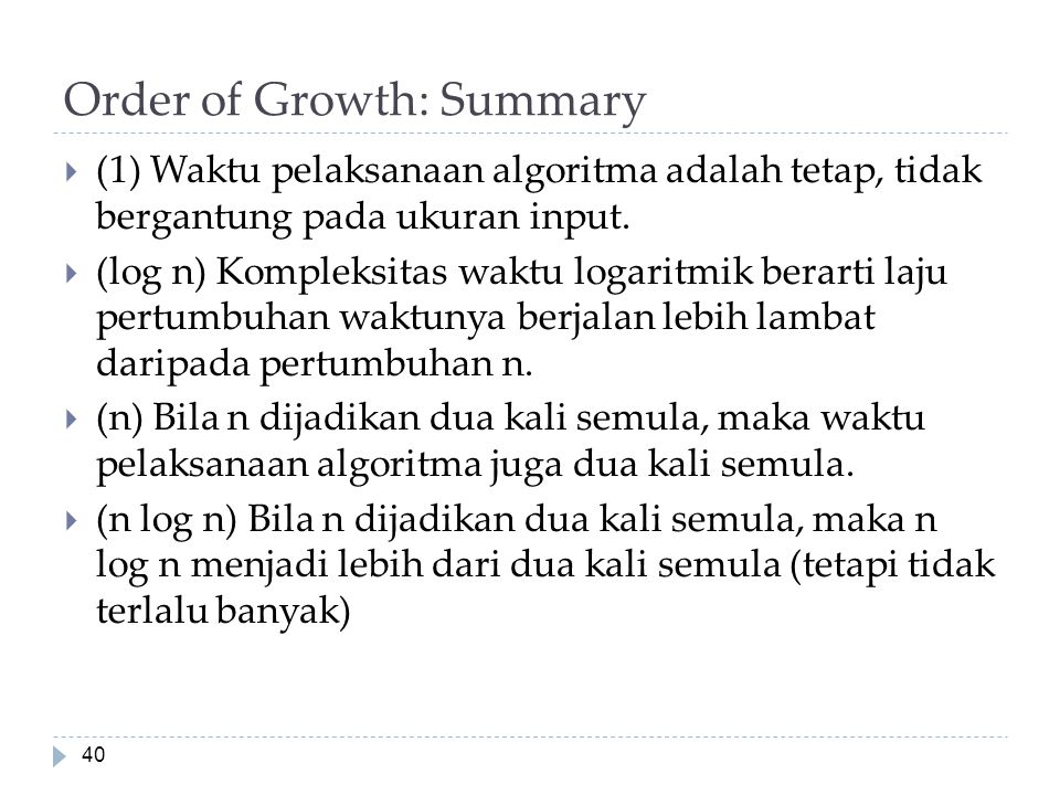 Order of Growth: Summary