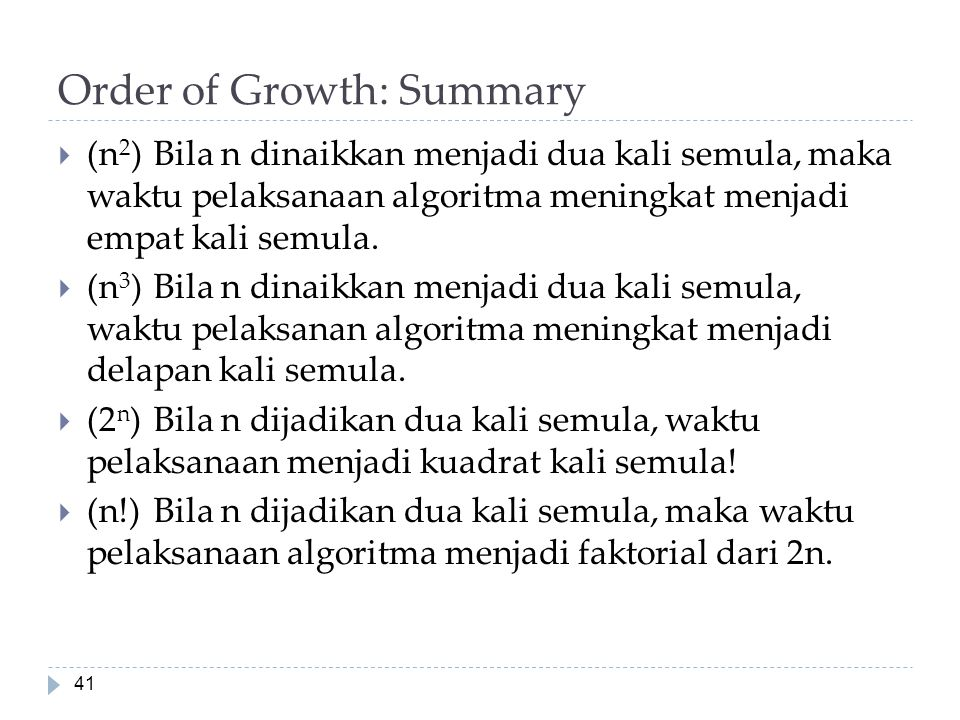 Order of Growth: Summary