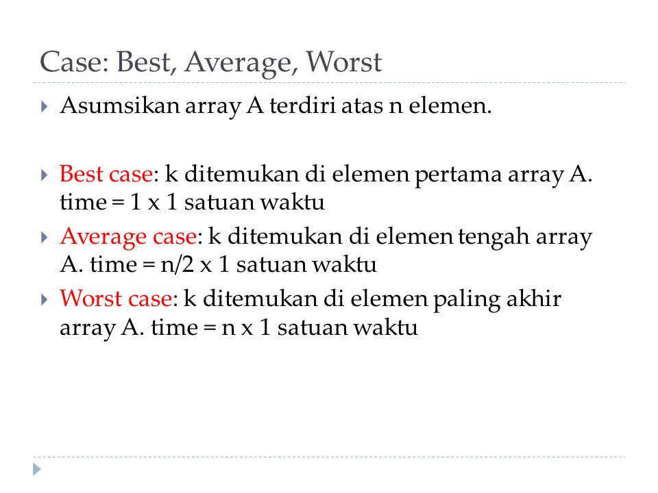 Case: Best, Average, Worst