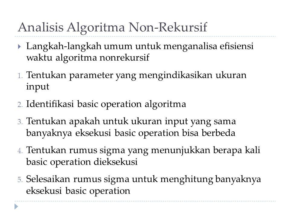 Analisis Algoritma Non-Rekursif