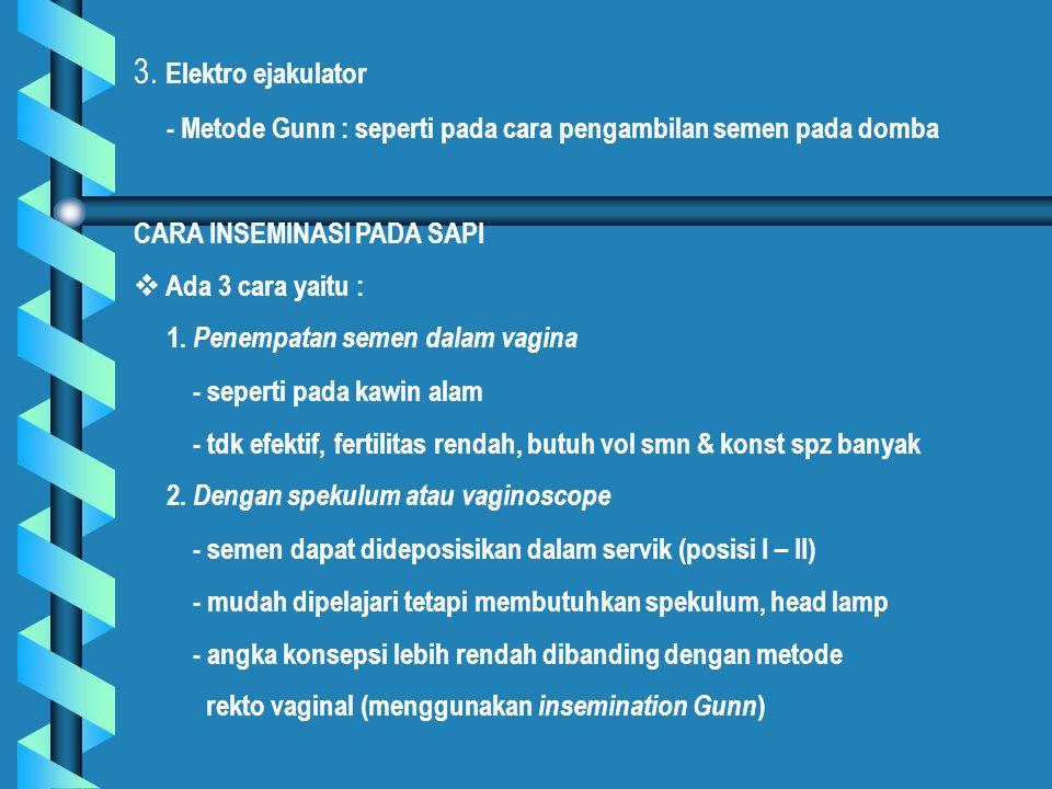 3. Elektro ejakulator - Metode Gunn : seperti pada cara pengambilan semen pada domba. CARA INSEMINASI PADA SAPI.