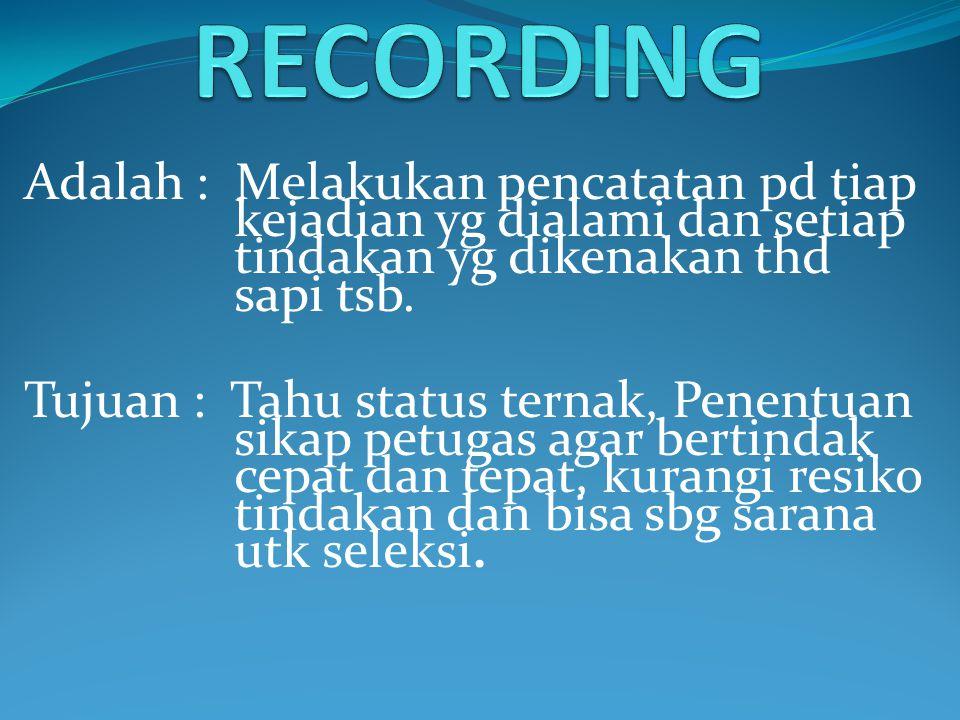 RECORDING Adalah : Melakukan pencatatan pd tiap