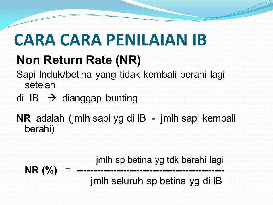 CARA CARA PENILAIAN IB Non Return Rate (NR)
