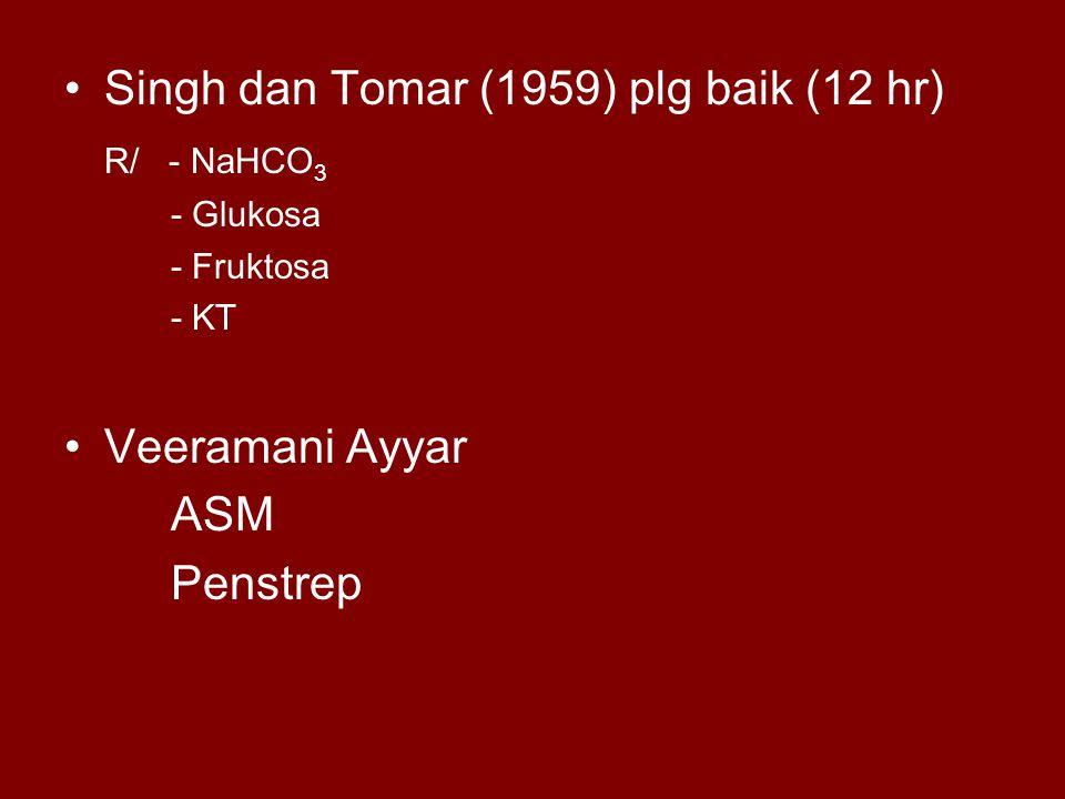 Singh dan Tomar (1959) plg baik (12 hr) R/ - NaHCO3