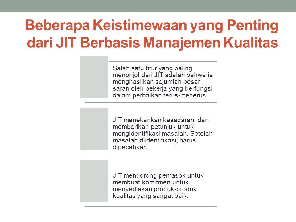 Beberapa Keistimewaan yang Penting dari JIT Berbasis Manajemen Kualitas