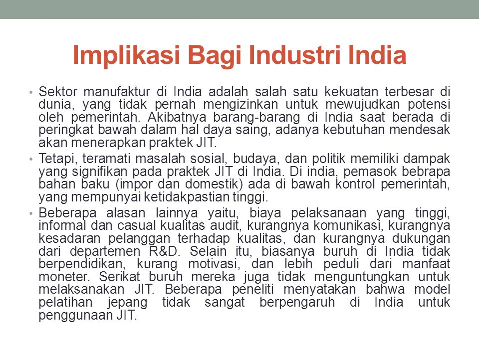 Implikasi Bagi Industri India