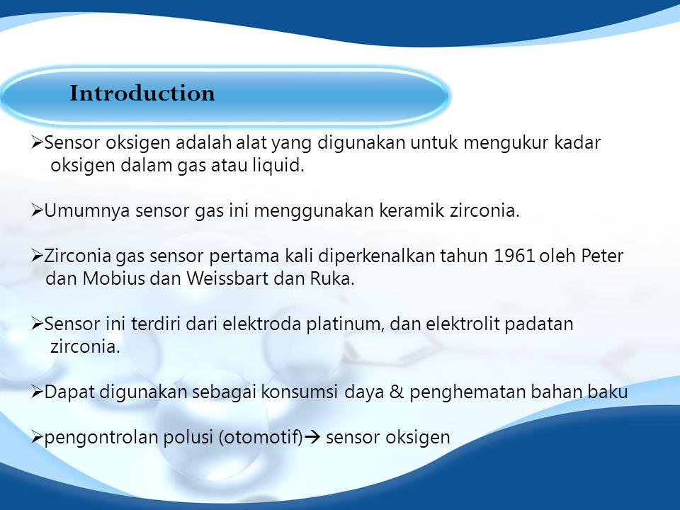 Introduction Sensor oksigen adalah alat yang digunakan untuk mengukur kadar. oksigen dalam gas atau liquid.