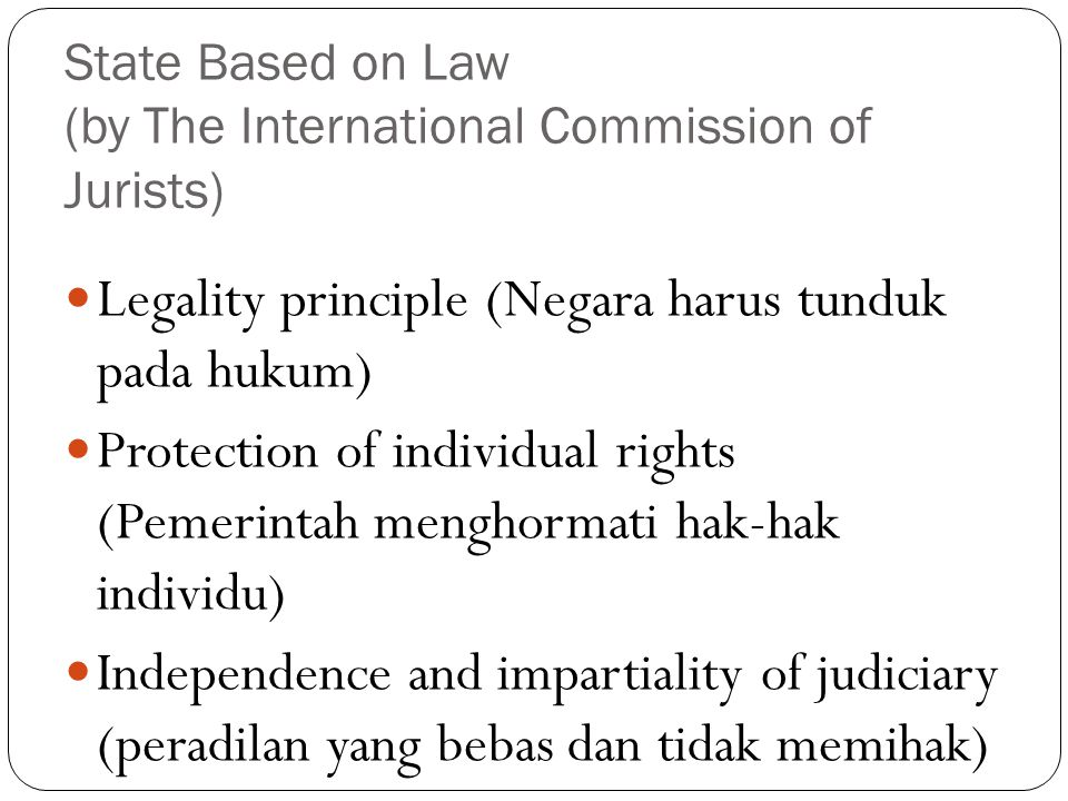 State Based on Law (by The International Commission of Jurists)