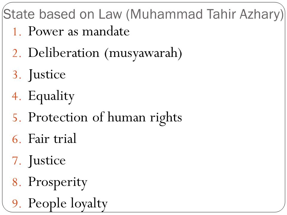 State based on Law (Muhammad Tahir Azhary)