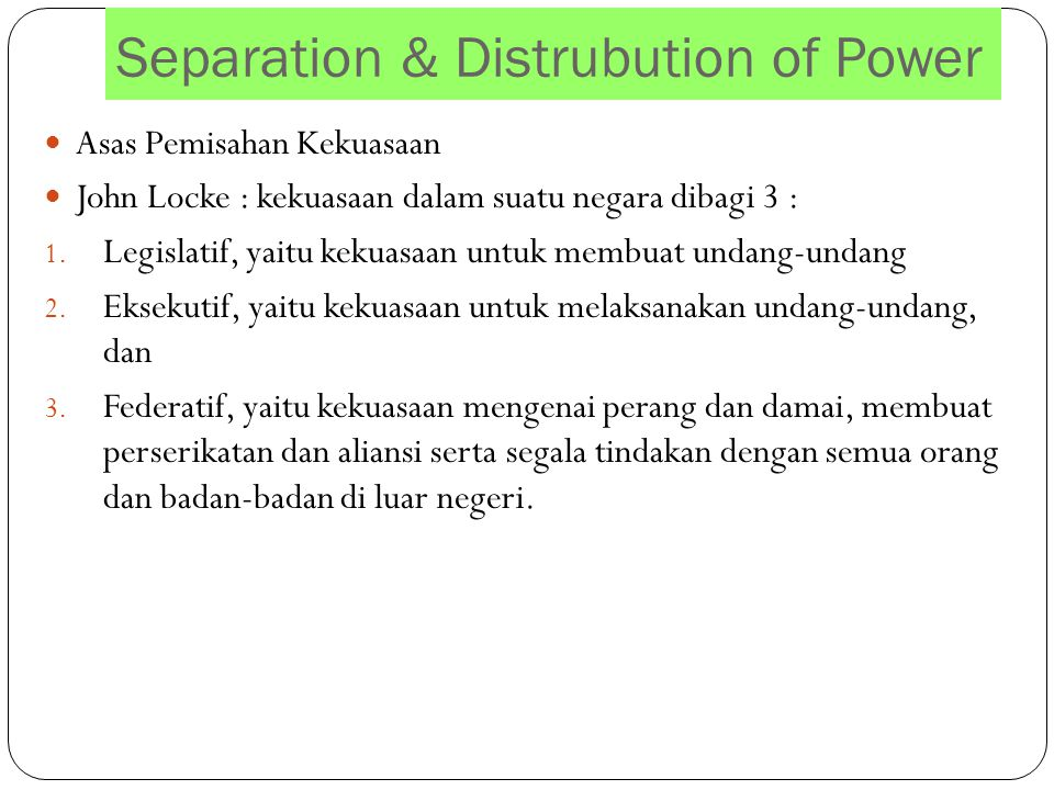 Separation & Distrubution of Power