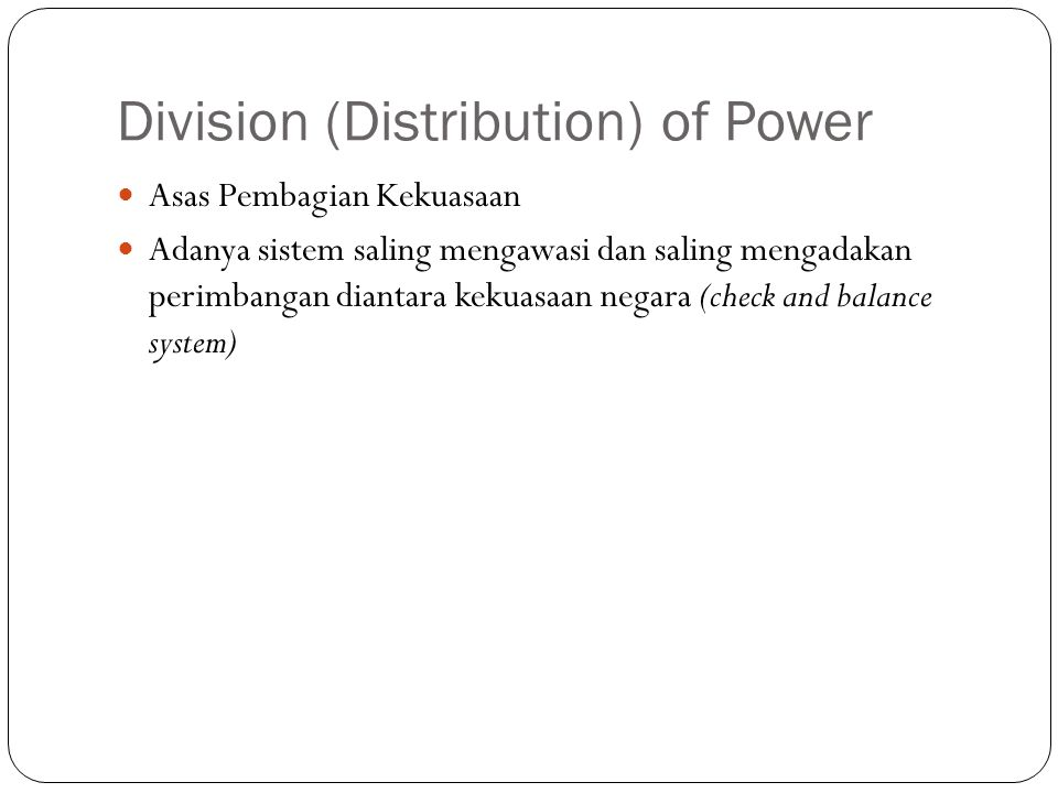 Division (Distribution) of Power