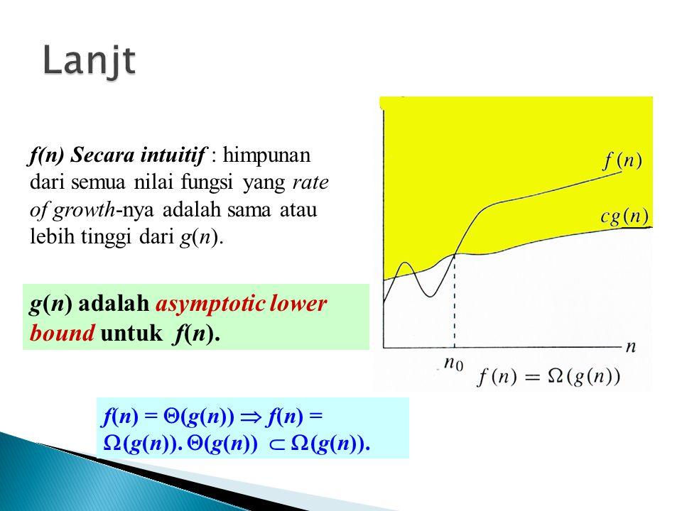 Lanjt g(n) adalah asymptotic lower bound untuk f(n).