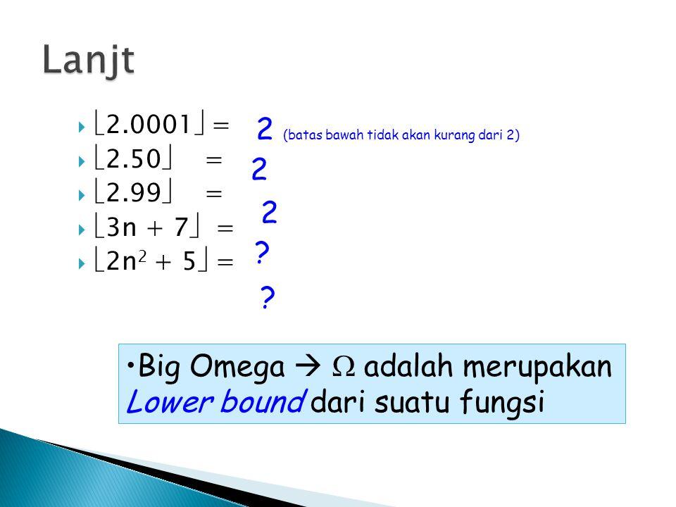 Lanjt 2 (batas bawah tidak akan kurang dari 2) 2 2