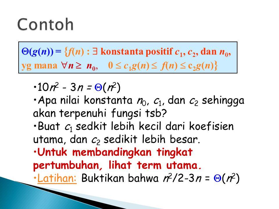 Contoh (g(n)) = {f(n) :  konstanta positif c1, c2, dan n0, yg mana n  n0, 0  c1g(n)  f(n)  c2g(n)}