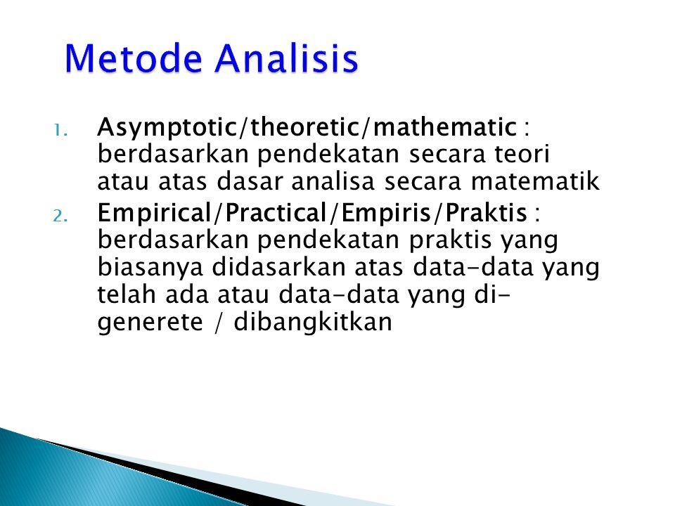 Metode Analisis Asymptotic/theoretic/mathematic : berdasarkan pendekatan secara teori atau atas dasar analisa secara matematik.