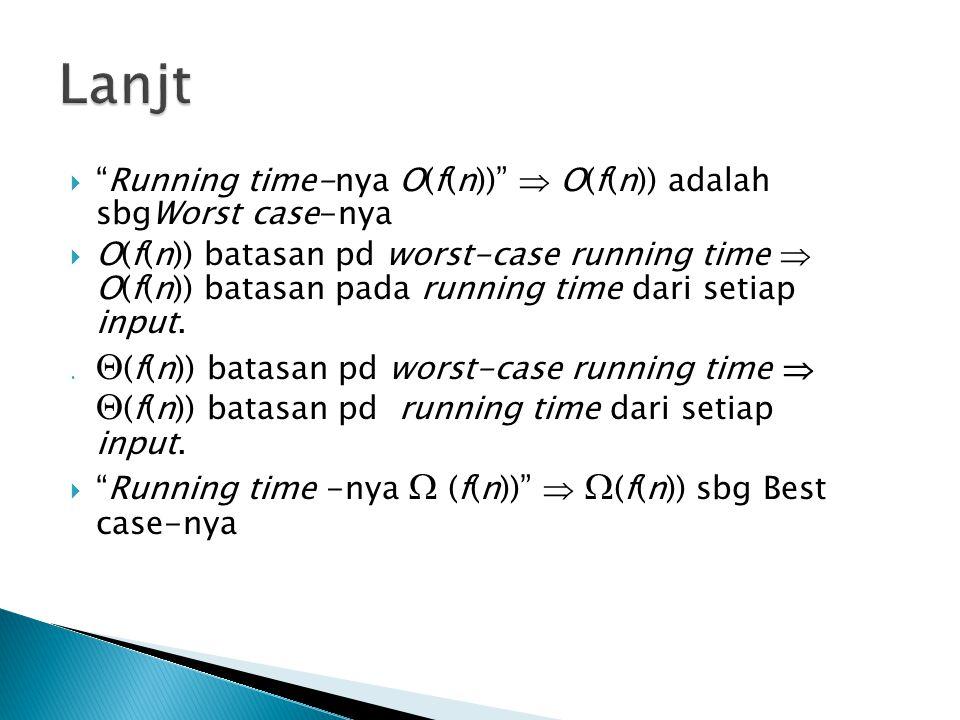 Lanjt Running time-nya O(f(n))  O(f(n)) adalah sbgWorst case-nya.