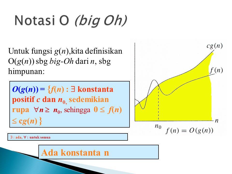 Notasi O (big Oh) Ada konstanta n
