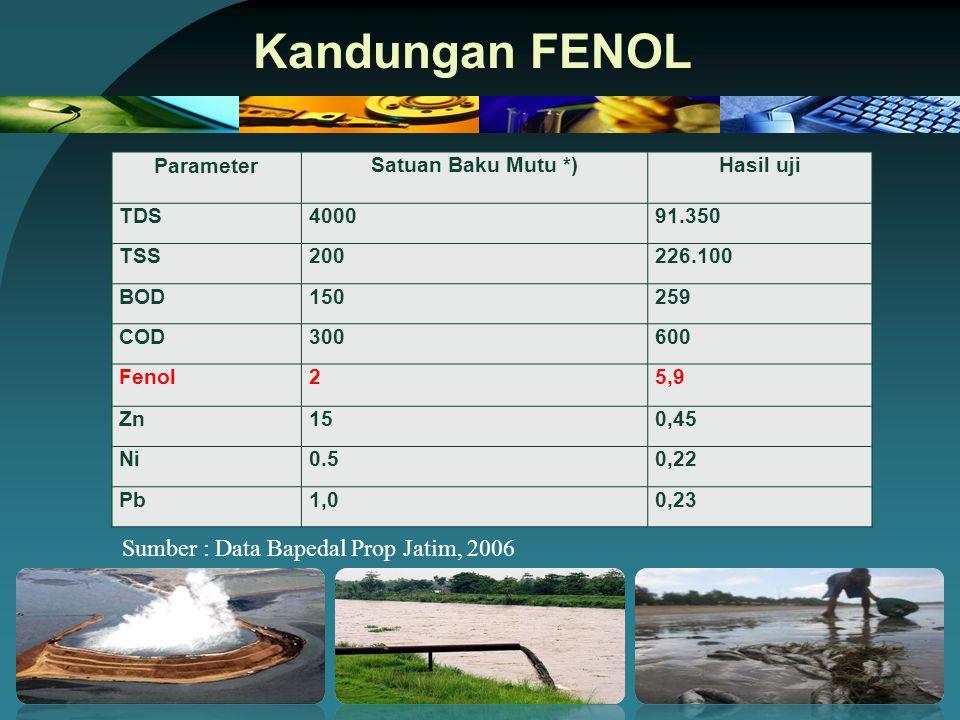 Kandungan FENOL Sumber : Data Bapedal Prop Jatim, 2006 Parameter