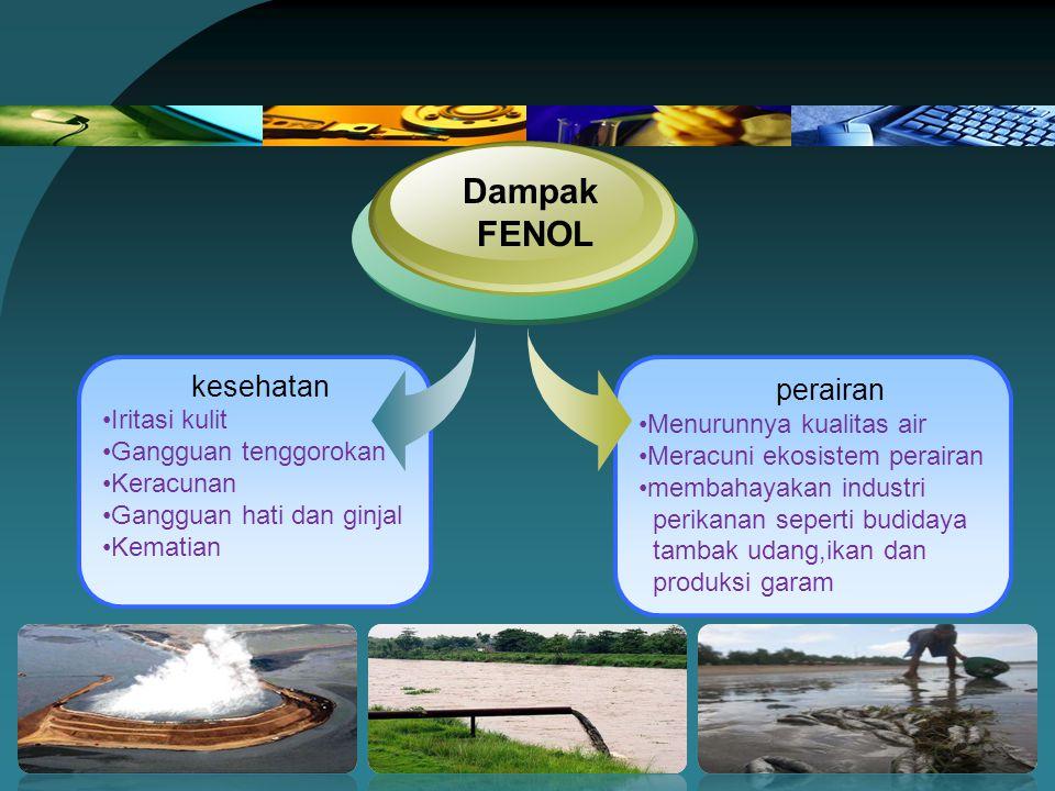 Dampak FENOL kesehatan perairan Iritasi kulit Menurunnya kualitas air