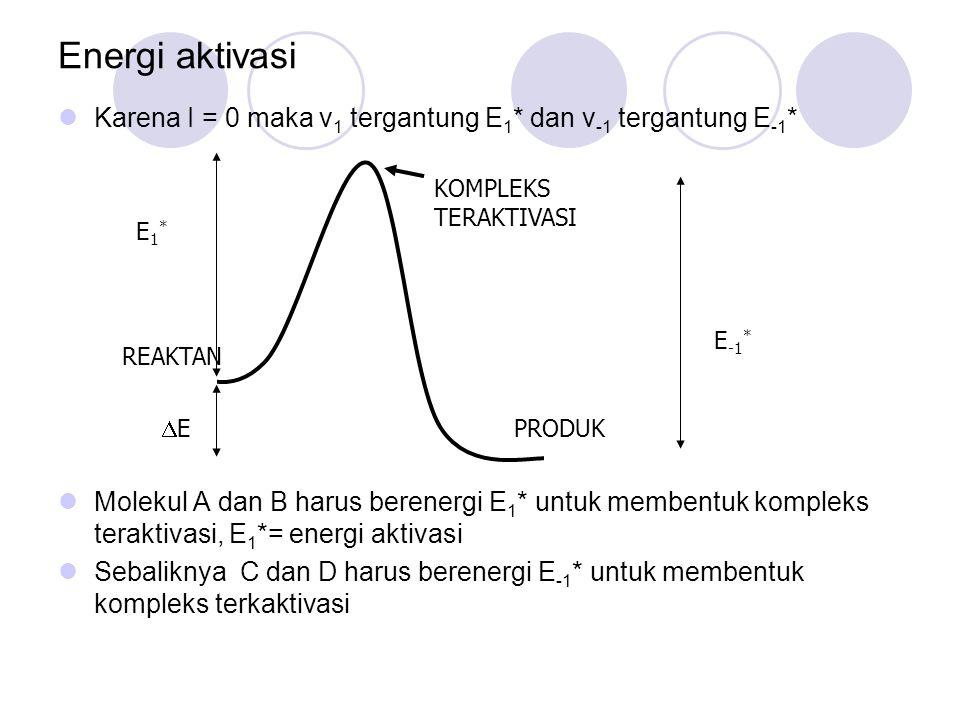 Energi aktivasi Karena I = 0 maka v1 tergantung E1* dan v-1 tergantung E-1*