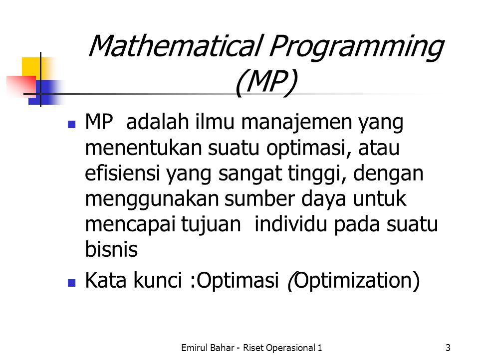 Mathematical Programming (MP)