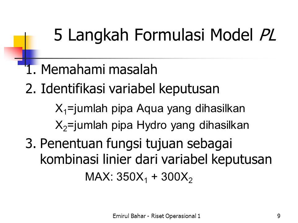 5 Langkah Formulasi Model PL