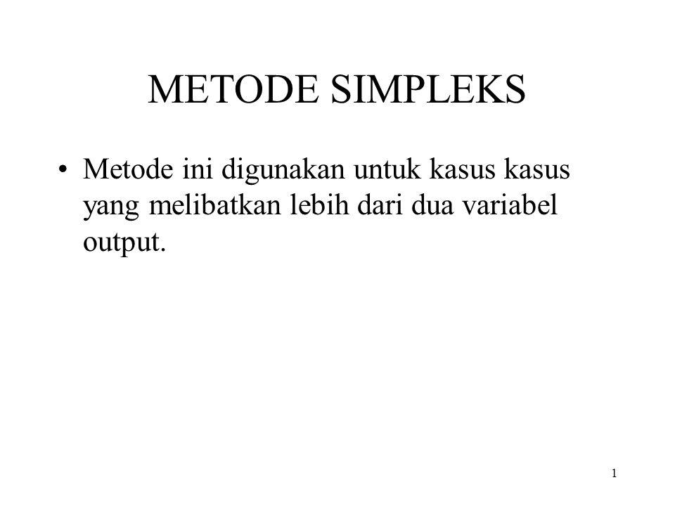 METODE SIMPLEKS Metode ini digunakan untuk kasus kasus yang melibatkan lebih dari dua variabel output.