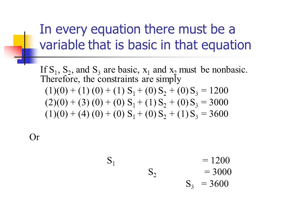 In every equation there must be a variable that is basic in that equation