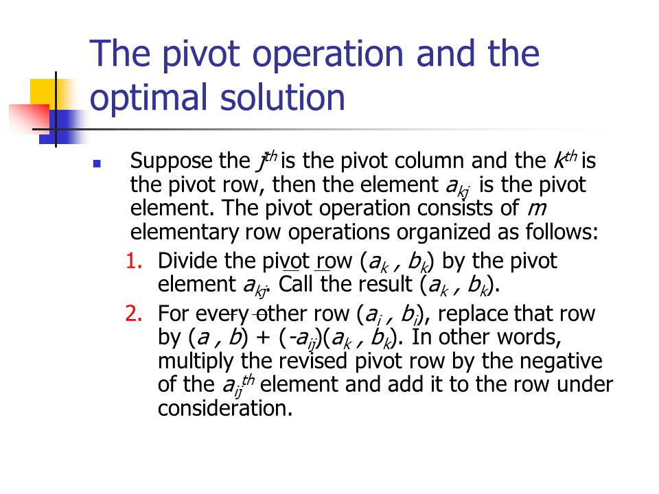 The pivot operation and the optimal solution