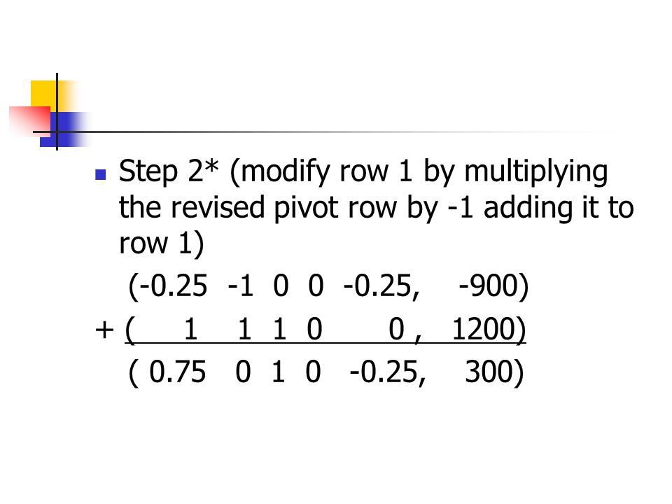Step 2* (modify row 1 by multiplying the revised pivot row by -1 adding it to row 1)