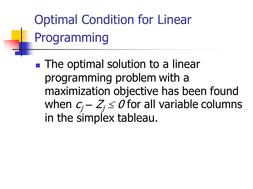 Optimal Condition for Linear Programming
