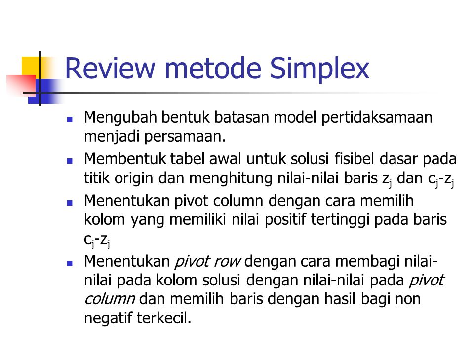 Review metode Simplex Mengubah bentuk batasan model pertidaksamaan menjadi persamaan.