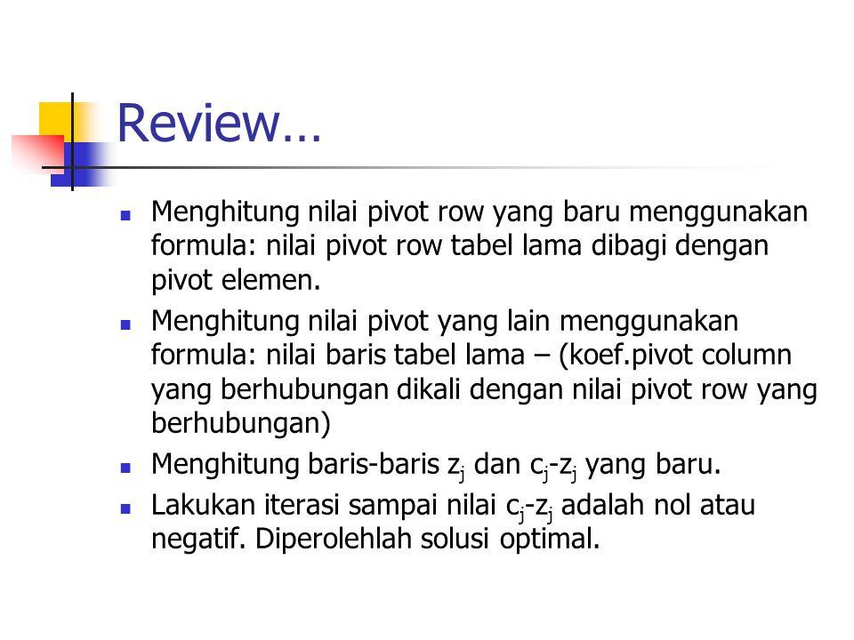 Review… Menghitung nilai pivot row yang baru menggunakan formula: nilai pivot row tabel lama dibagi dengan pivot elemen.