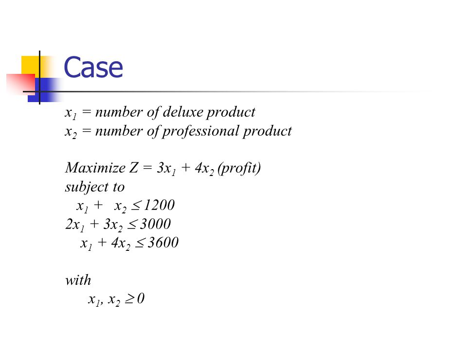Case x1 = number of deluxe product x2 = number of professional product