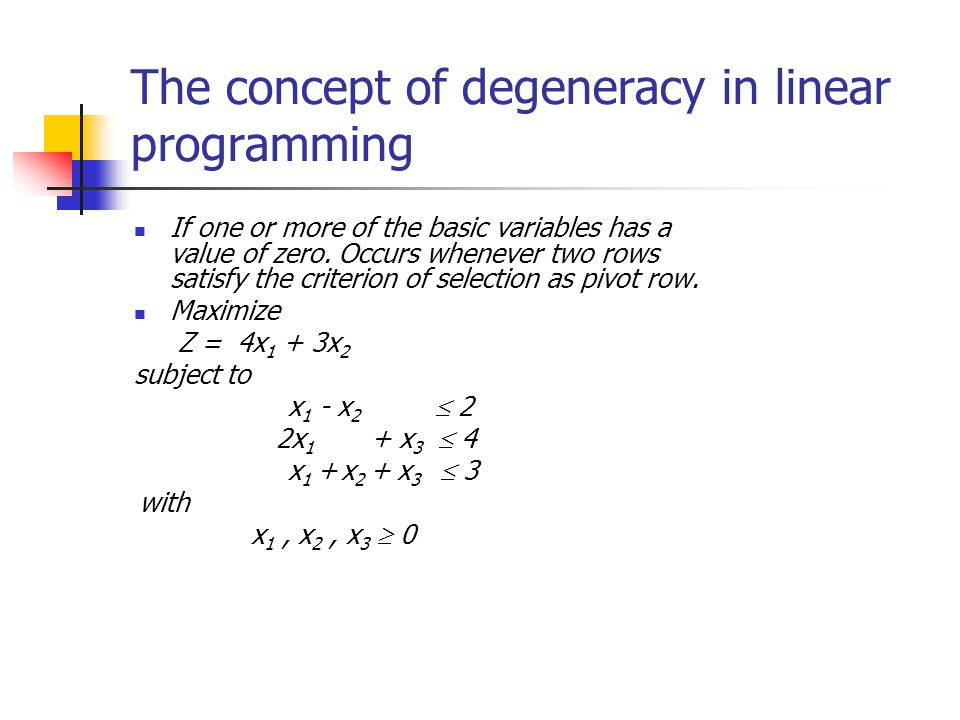 The concept of degeneracy in linear programming