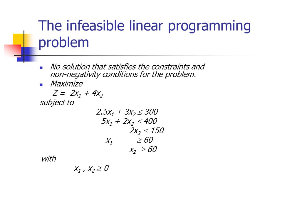 The infeasible linear programming problem