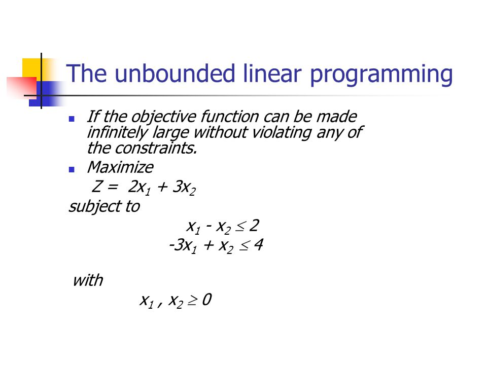 The unbounded linear programming
