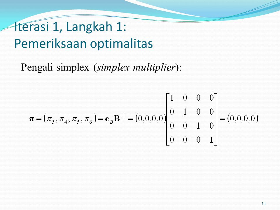 Iterasi 1, Langkah 1: Pemeriksaan optimalitas