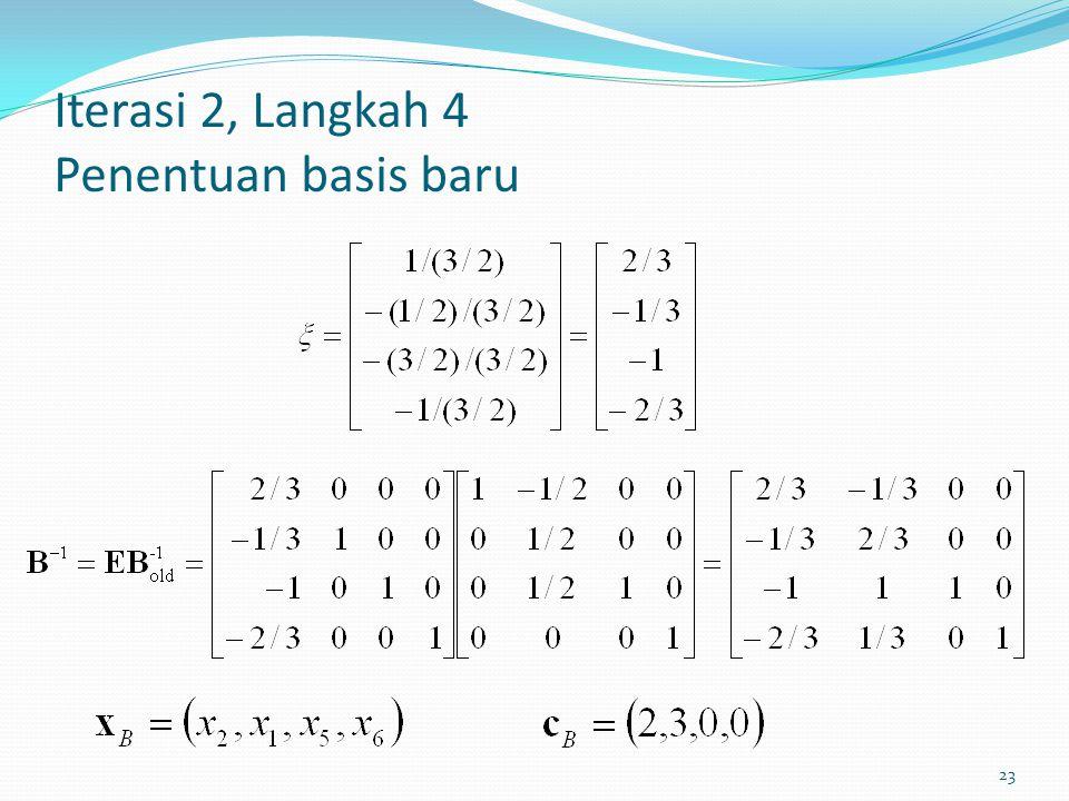 Iterasi 2, Langkah 4 Penentuan basis baru