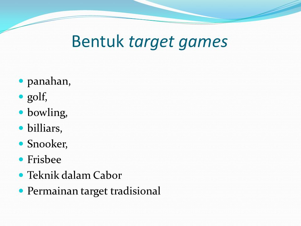 Bentuk target games panahan, golf, bowling, billiars, Snooker, Frisbee