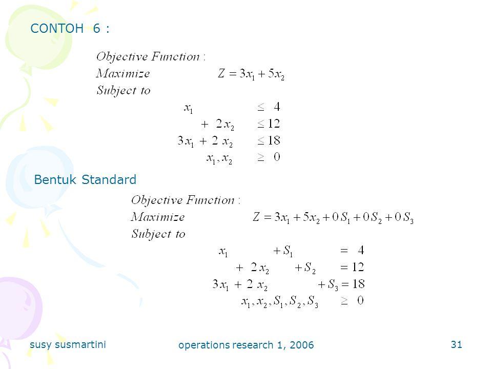 CONTOH 6 : Bentuk Standard susy susmartini operations research 1, 2006