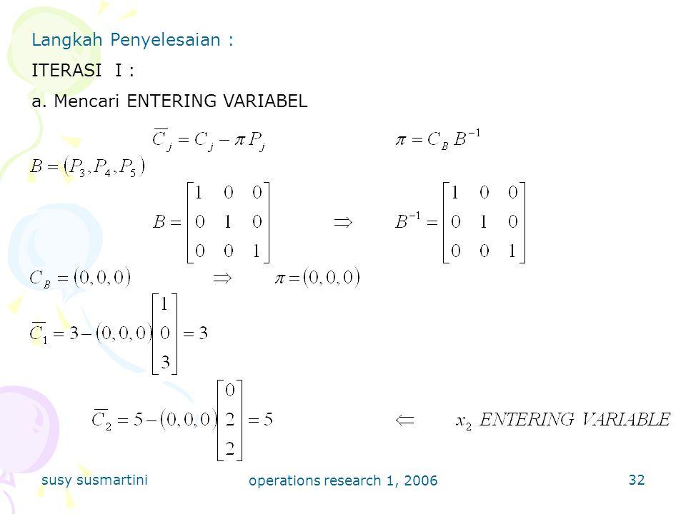 Langkah Penyelesaian : ITERASI I : a. Mencari ENTERING VARIABEL